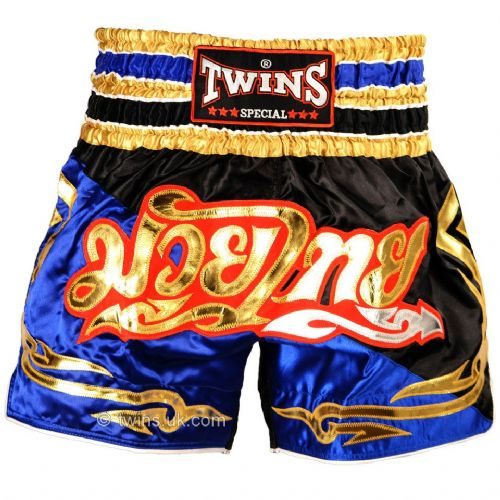 Twins TWS-856 Black/Blue/Gold Muay Thai Shorts
